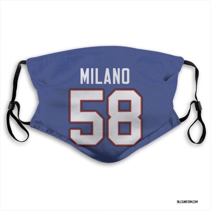 Buffalo Bills Matt Milano Royal Blue Jersey Name & Number Face Mask