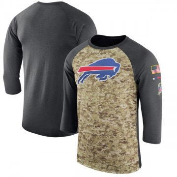 Men's Nike Buffalo Bills Camo /Anthracite Salute to Service 2017 Sideline Performance Three-Quarter Sleeve T-Shirt - Legend