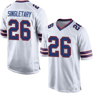 Men's Nike Buffalo Bills Devin Singletary White Jersey - Game
