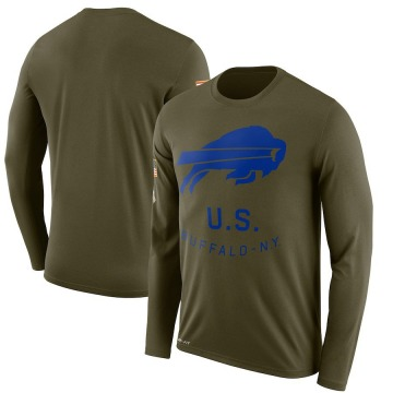 Men's Nike Buffalo Bills Olive 2018 Salute to Service Sideline Performance Long Sleeve T-Shirt - Legend
