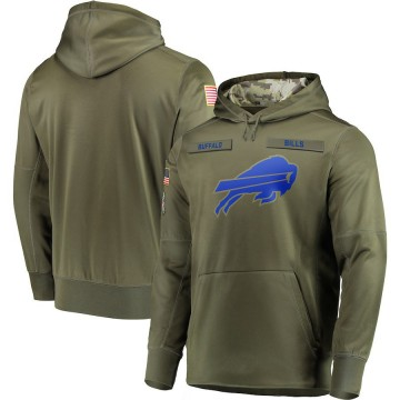 Men's Nike Buffalo Bills Olive 2018 Salute to Service Sideline Therma Performance Pullover Hoodie -