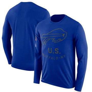 Men's Nike Buffalo Bills Royal 2018 Salute to Service Sideline Performance Long Sleeve T-Shirt - Legend