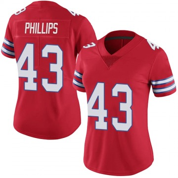 Women's Nike Buffalo Bills Del'Shawn Phillips Red Color Rush Vapor Untouchable Jersey - Limited