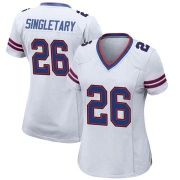 Women's Nike Buffalo Bills Devin Singletary White Jersey - Game