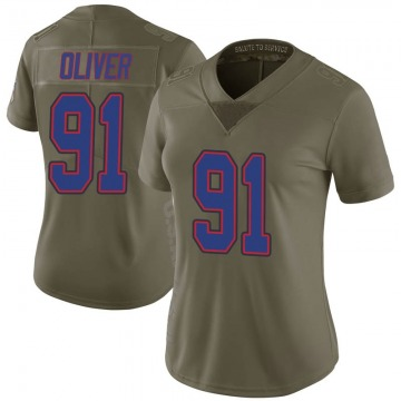 Women's Nike Buffalo Bills Ed Oliver Green 2017 Salute to Service Jersey - Limited
