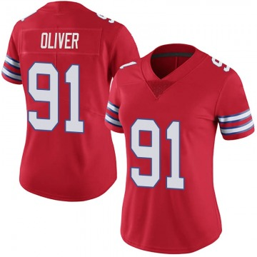 Women's Nike Buffalo Bills Ed Oliver Red Color Rush Vapor Untouchable Jersey - Limited