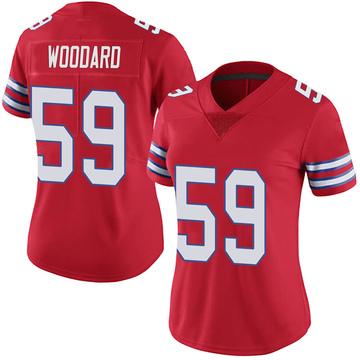 Women's Nike Buffalo Bills Jonathan Woodard Red Color Rush Vapor Untouchable Jersey - Limited