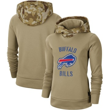 Women's Nike Buffalo Bills Khaki 2019 Salute to Service Therma Pullover Hoodie -