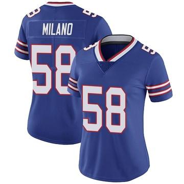 Women's Nike Buffalo Bills Matt Milano Royal Team Color Vapor Untouchable Jersey - Limited