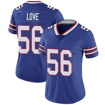 Women's Nike Buffalo Bills Mike Love Royal Team Color Vapor Untouchable Jersey - Limited