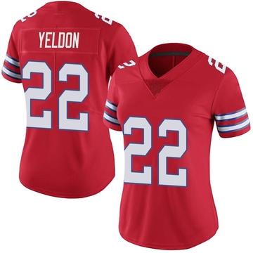 Women's Nike Buffalo Bills T.J. Yeldon Red Color Rush Vapor Untouchable Jersey - Limited