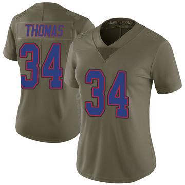 Women's Nike Buffalo Bills Thurman Thomas Green 2017 Salute to Service Jersey - Limited