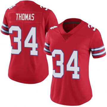 Women's Nike Buffalo Bills Thurman Thomas Red Color Rush Vapor Untouchable Jersey - Limited