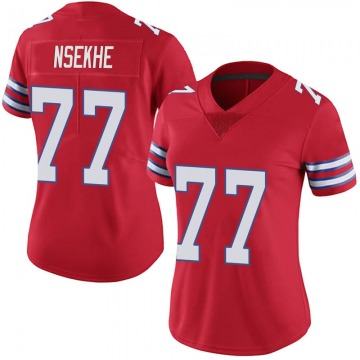 Women's Nike Buffalo Bills Ty Nsekhe Red Color Rush Vapor Untouchable Jersey - Limited