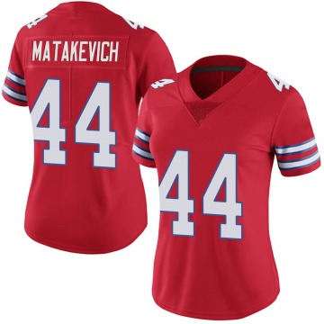 Women's Nike Buffalo Bills Tyler Matakevich Red Color Rush Vapor Untouchable Jersey - Limited
