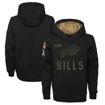 Youth Nike Buffalo Bills Black 2020 Salute to Service Pullover Performance Hoodie -