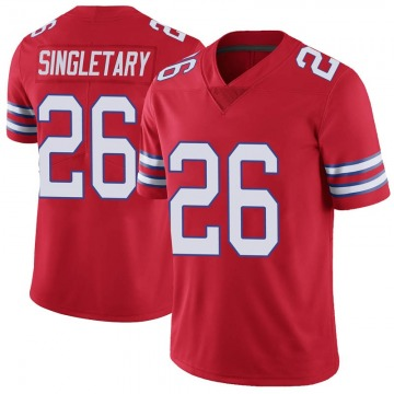 Youth Nike Buffalo Bills Devin Singletary Red Color Rush Vapor Untouchable Jersey - Limited