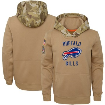 Youth Nike Buffalo Bills Khaki 2019 Salute to Service Therma Pullover Hoodie -