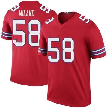 Youth Nike Buffalo Bills Matt Milano Red Color Rush Jersey - Legend