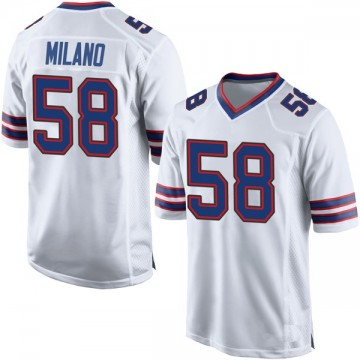 Youth Nike Buffalo Bills Matt Milano White Jersey - Game